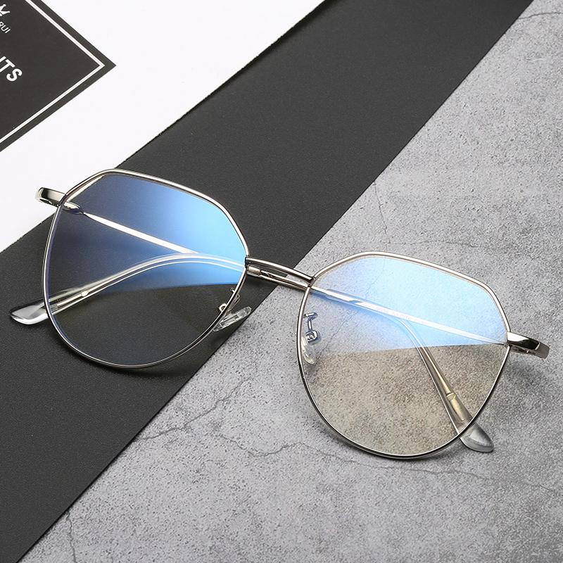 Kính chống bức xạ nam chống ánh sáng xanh không độ vàng dây phẳng máy bay gương nữ máy tính tròn khung mắt cận thị retro - Kính râm