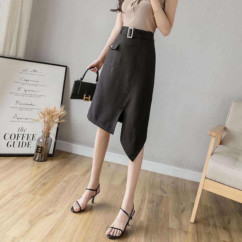 实拍 鱼尾裙半身裙女春夏显瘦2020新款中长款高腰修身一步包臀裙