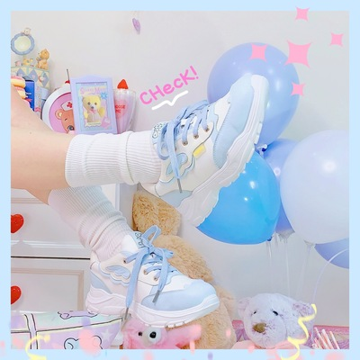 taobao agent [Spot] Star Crown Original Wings Autumn Fairy Tale Lolita Sneakers Cute Lo Running Students All-match