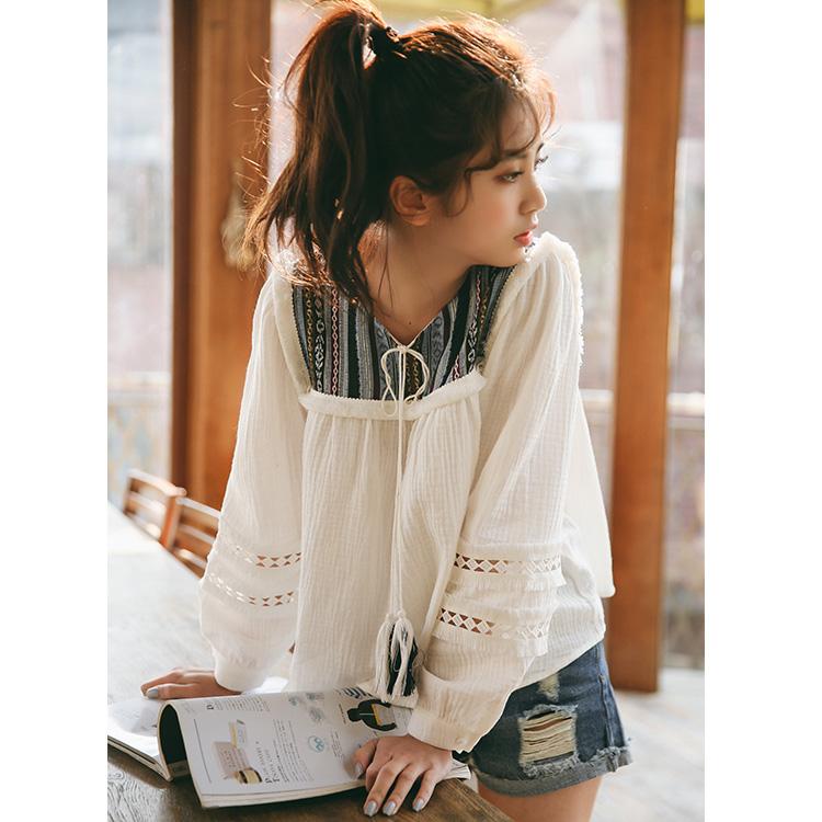 实拍小清新民族风 纯棉拼蕾丝学院风白色衬衣 娃娃衫 1047