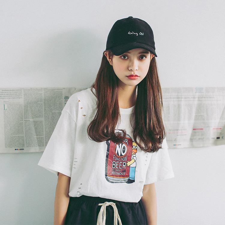 实拍 夏季新款 韩版 宽松大码短袖T恤 印花破洞时尚T恤9688
