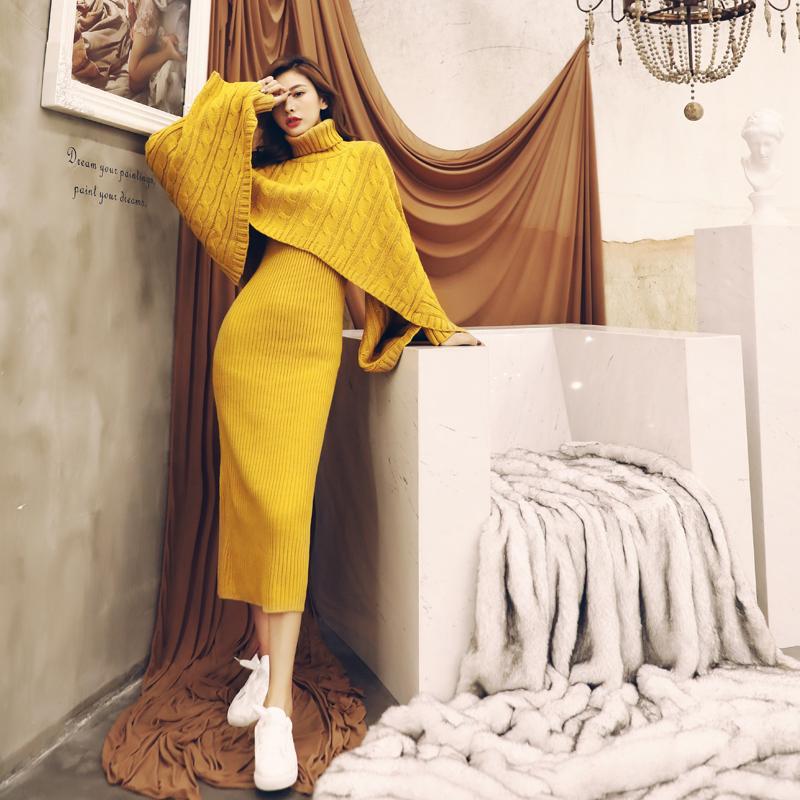 名媛气质欧洲站时尚背心针织开叉包臀连衣裙斗篷宽松毛衣外套装秋