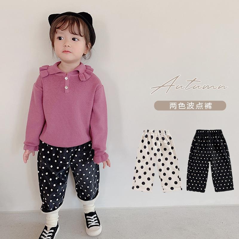 Youyou cô gái quần dày 2020 quần áo mùa thu và mùa đông mới quần áo trẻ em trẻ em chấm quần bé nhung kẻ ngoại quốc - Quần