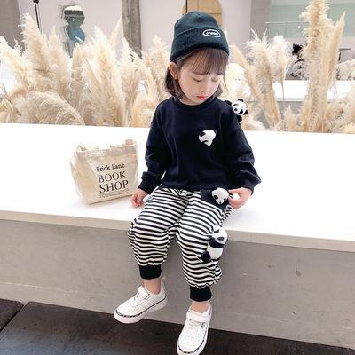 女童网红套装2021新款女宝宝洋气秋装小童衣服儿童春秋运动两件套