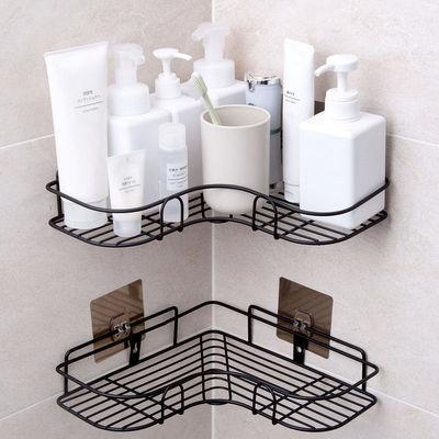 浴室置物架免打孔厕所洗手间马桶毛巾架壁挂式三角收纳洗澡卫生间
