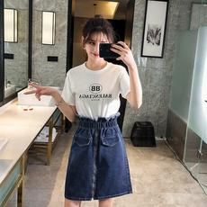 实拍现货 牛仔短裙女2019新款 胖mm200斤长款高腰花苞牛仔裙3823