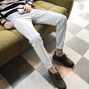 春季新款男士牛仔白色休闲小脚裤韩版修身型乞丐破洞雪花长裤学生