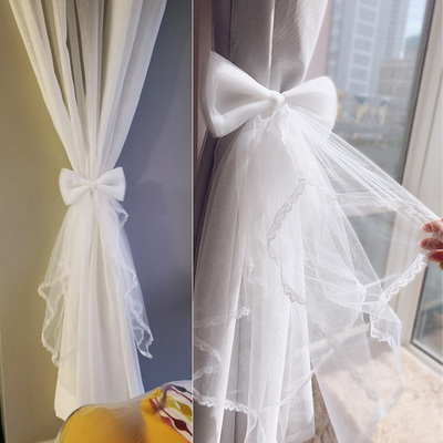 42agent Gauze strap tying flower curtain buckle cloth clip belt tied curtains jewelry bow lace modern creative tie - Taobao