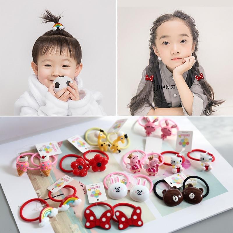Phụ kiện tóc cho trẻ em, băng đô, bé gái, tóc buộc, dây cao su, không bị rối, một cặp vòng tóc dễ thương, bé gái, mũ hoạt hình - Phụ kiện tóc