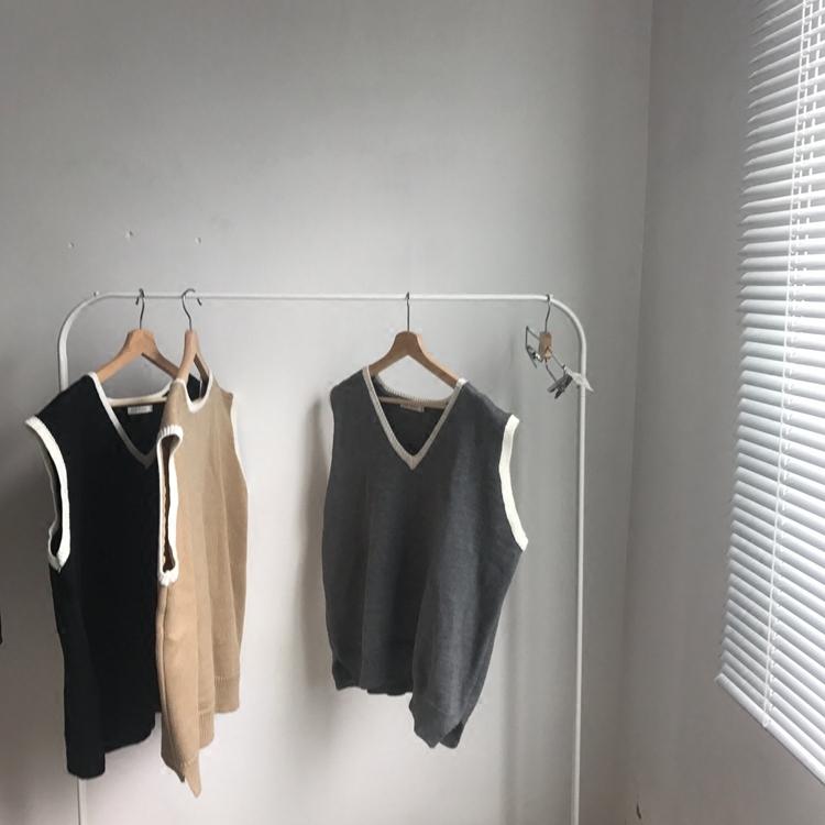 Hàn quốc chic phong cách đơn giản retro màu rắn trắng V-Cổ knit vest áo len vest cao đẳng gió nam giới và phụ nữ mô hình Dệt kim Vest
