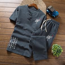 中国风 夏季42亚麻套装男士棉麻短袖T恤大码九分裤A348-TZ601-P50