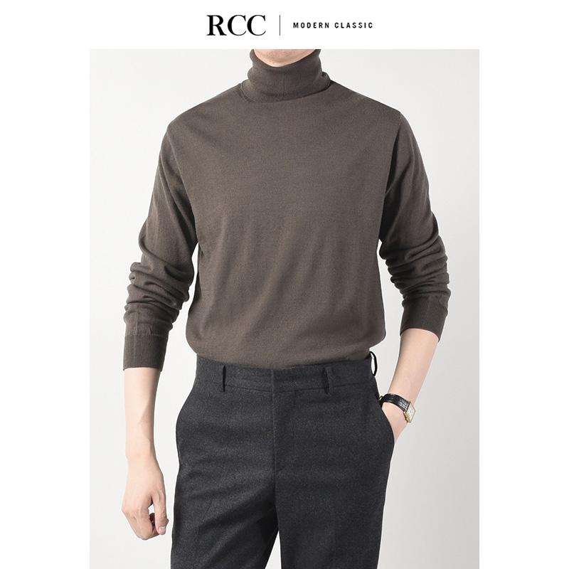 Spot RCC quần áo nam mùa thu và mùa đông mới chạm đáy mềm mại có thể lật ngược áo len len cao cổ nam - Hàng dệt kim