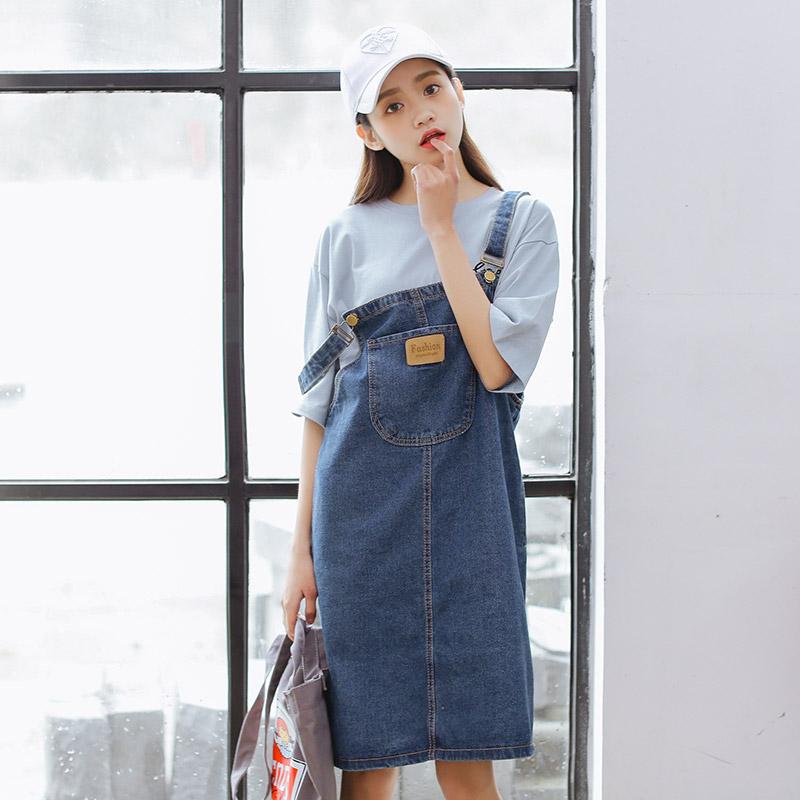 实拍6601T#春韩学院风口袋宽松牛仔裙T恤背带裙两件套连衣裙 套装