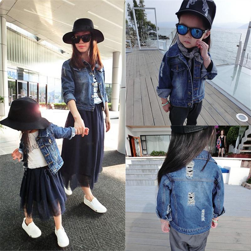 Cha mẹ-con mặc một gia đình ba hoặc bốn áo khoác 2020 đầu xuân mới quần áo thời trang mẹ-quần áo denim Quần áo mẹ và con gái nước ngoài - Trang phục dành cho cha mẹ và con