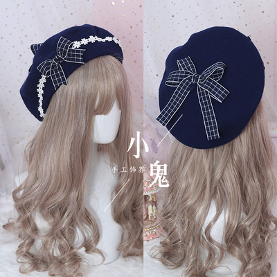 taobao agent Japanese beret lolita girl sweet and cute all-match woolen female autumn and winter daisy hand-made bow bud