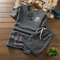 中国风 夏季棉麻套装男士亚麻短袖T恤大码36短裤A348-TZ52-P45