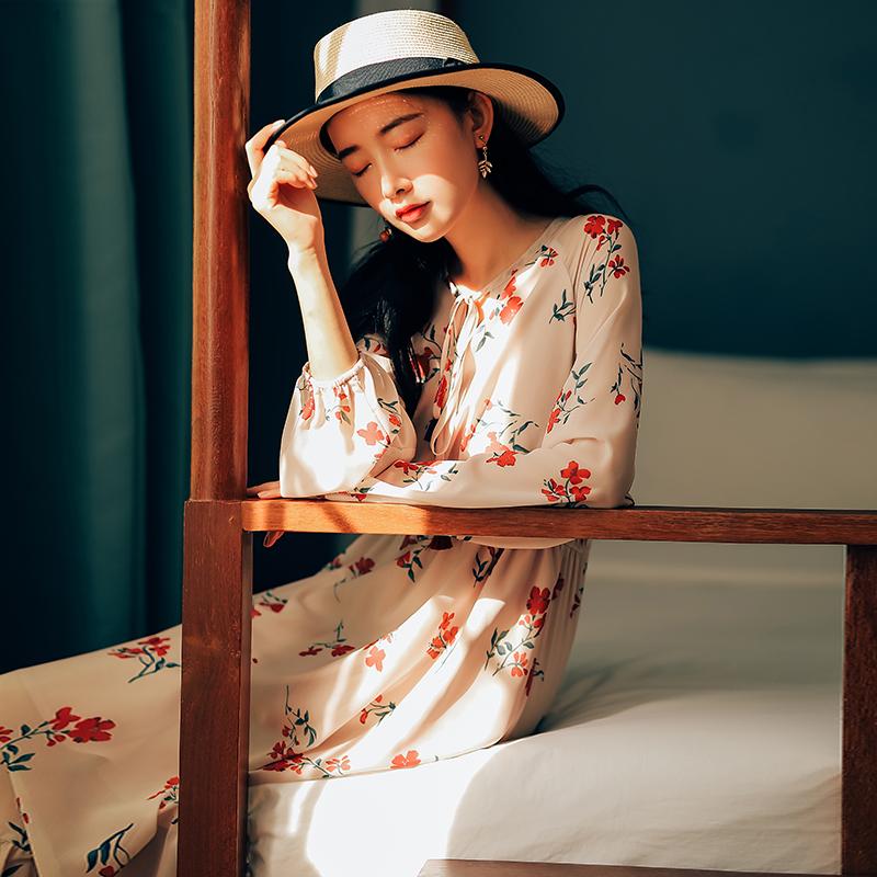 【8412#不低于98】文艺粉色碎花长袖连衣裙 2019春款现货