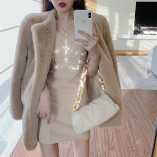 2020秋冬新款镶钻吊带连衣裙+中长款毛绒外套两件套时尚套装女装