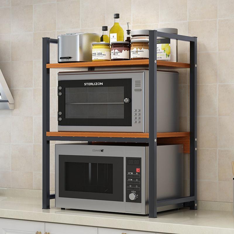 厨房微波炉置物架黑色桌面台面架烤箱架子双层厨房用品收⌒纳储物架
