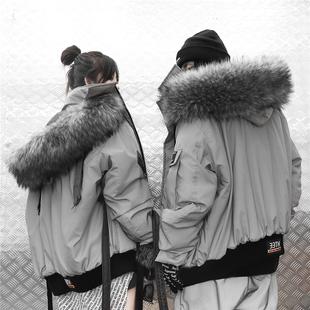 33TH潮牌3M反光毛领连帽棉衣短款座山雕冬季潮流男女情侣棉服外套