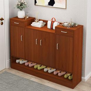 鞋柜简易多功能收纳玄关仿实木进门防尘鞋柜家用大容量门口鞋架