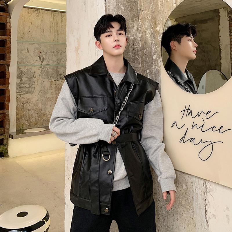 South Korea dongdamen handsome leather vest mens loose personality sleeveless PU leather machine car coat trend cardigan vest