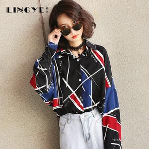 韩版拼色长袖印花雪纺衬衫上衣宽松