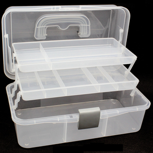 Plastic Multi Layer Toolbox Transparent Folding Storage Box Medicine Box  Art Box Cosmetics Storage Box