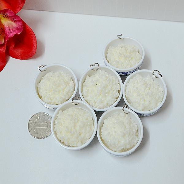 Mô phỏng thực phẩm mô hình thực phẩm gạo mặt dây chuyền trắng mẫu giáo đạo cụ trẻ em chơi nhà đồ chơi