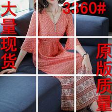 3360#2018春装新款女装民族风碎花雪纺连衣裙V领喇叭袖大码长裙