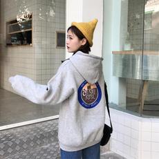 8100 实拍秋冬女装韩版风背后字母印花加绒加厚宽松连帽卫衣潮