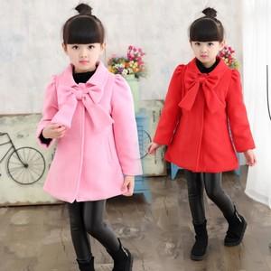 宅时尚秋冬中童呢外套 韩版修身时尚潮款蝴蝶结外套 加厚呢大衣