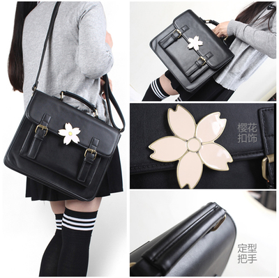 taobao agent Japanese soft girl Japanese cherry blossom k uniform bag student bag single shoulder double shoulder messenger three-way 3way with two-color flowers
