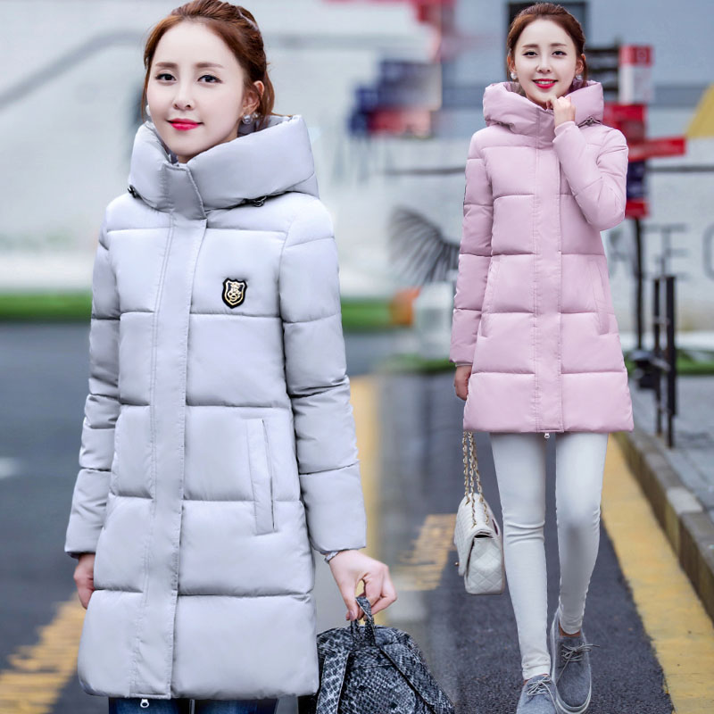 棉衣外套女中长款2017冬季新款韩版连帽长袖过膝羽绒棉服修身大码