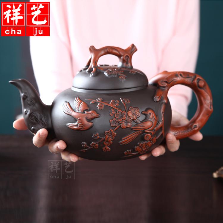Yixing chính hãng tím nồi cát nồi lớn công suất lớn nồi cát màu tím bộ sưu tập trang trí nội thất ấm trà trà cát tím bộ