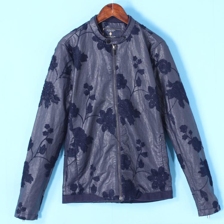 甩 quần áo nam Jie loạt mùa xuân mới ba chiều thêu nhỏ đứng cổ áo đẹp trai da áo khoác mỏng 2034