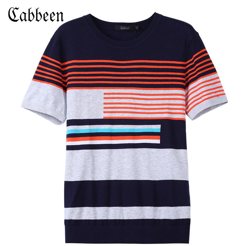 Carbine nam màu sắc tương phản sọc vòng cổ ngắn tay áo len cổ tròn áo thun áo len cotton mùa hè xu hướng T-Shirt