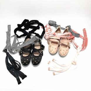 蝴蝶结芭蕾舞绑带鞋平底鞋浅口铆钉圆头单鞋