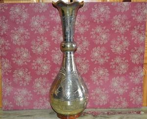 Phương tây bộ sưu tập Ấn Độ thủ công mỹ nghệ bronze tay chạm khắc bình đồng sóng miệng cổ bụng lớn chai đồng 30 cm