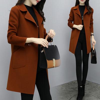 Chống mùa len áo khoác nữ mùa xuân và mùa thu dài tay tự trồng linh hoạt tuổi già áo len trong phần dài của quần áo phụ nữ tinh thần kiểu Hồng Kông Trung bình và dài Coat