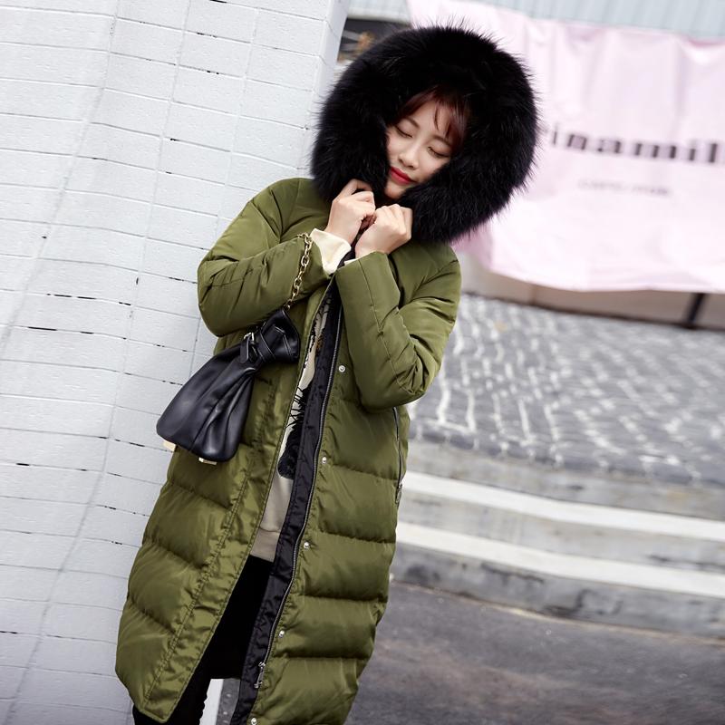 现货冬季羽绒服女中长款2017新款韩版修身百搭潮韩国白鸭绒大毛领