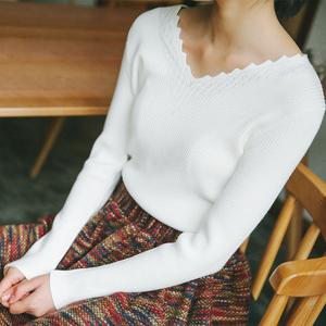 实拍韩版修身显瘦 好手感  V领打底针织上衣 内搭针织衫9059D