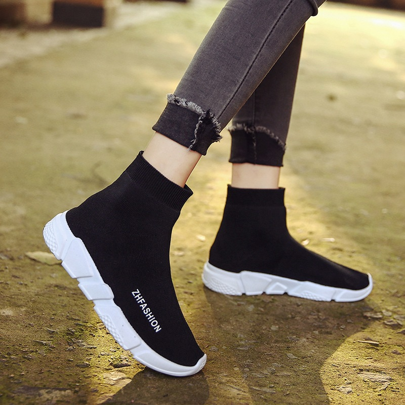 Paris Tang Yan Phong Fan với đoạn giản dị cao-top socks sneakers len dệt kim nửa khởi động của phụ nữ dày có đế vớ đàn hồi khởi động