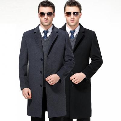 Mùa thu và mùa đông nam cashmere coat phù hợp với cổ áo dày áo len áo gió phần dài nam coat daddy coat Áo len