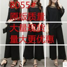 春夏新款韩版女装时尚气质名媛两件套上衣阔腿裤雪纺套装女潮