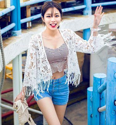 2017韩版新品优雅性感水溶雕花镂空花朵流苏边蕾丝开衫防晒衫