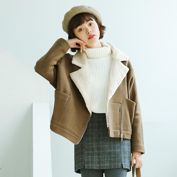 352# 2017冬季新款 韩版短款羊羔绒翻领西装领夹克加厚毛呢外套1