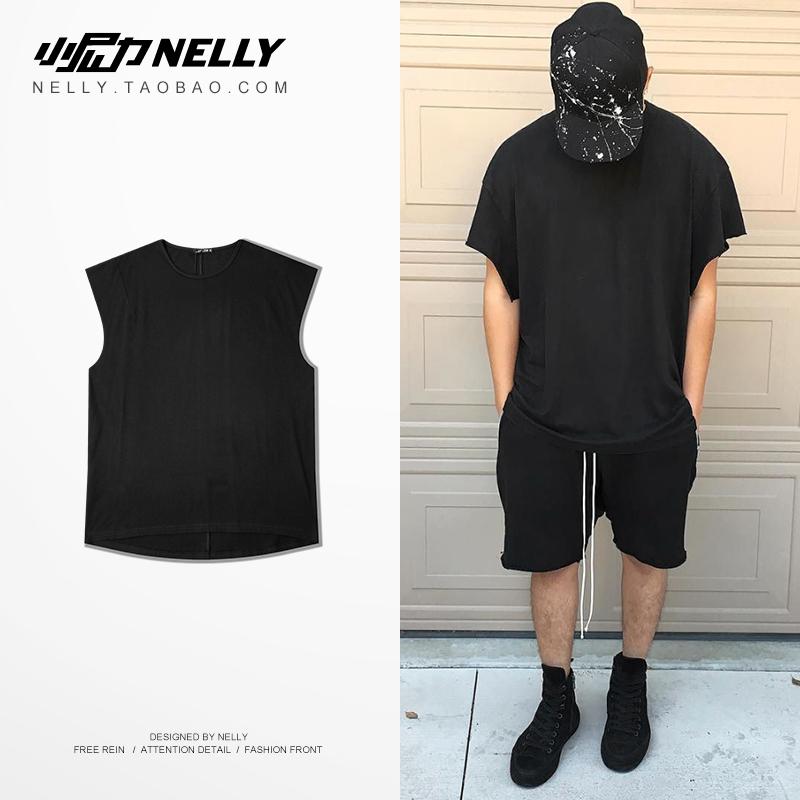 Châu âu và Hoa Kỳ new hip hop nam giới và phụ nữ với cùng một vest không tay vest nam ins xu hướng cơ sở màu rắn cotton áo sơ mi nam