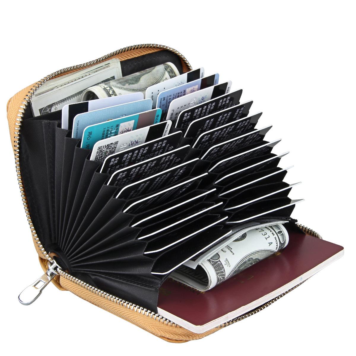 2018 new ladies organ gói thẻ da chống-RFID hàng tăng gấp đôi thẻ đa vị trí purse nam bộ thẻ tùy chỉnh