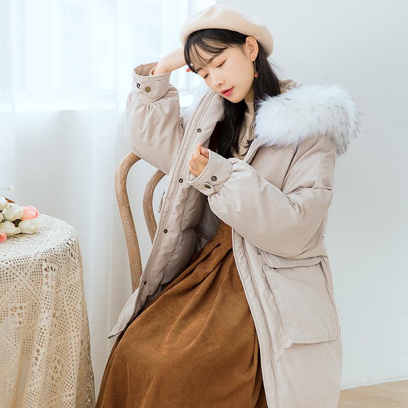【6471#不低于199】大毛领棉衣外套女韩版面包服